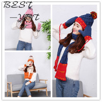 Wholesale Korean Wool Gloves - Wholesale-2016 New Korean Female Winter Warm Wool Cap Thicker Suit Spell Color Hat Scarves Gloves Three-piece Hot Explosion Models