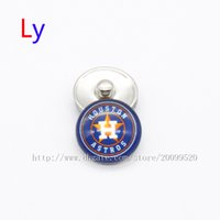Wholesale Houston Jewelry - 2016 fashion accessories houston astros MLB baseball glass snap button jewelry charm popper for bracelet jewelry making NE0072