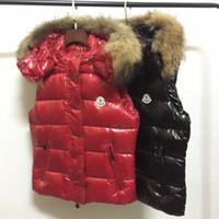 Wholesale Raccoon Fur Vest Women - M Brand 100% real raccoon fur collar hood Vest Women Fashion Outwear Coats Warm Vest Casual Down Vests