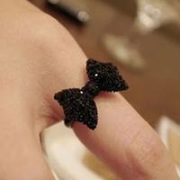 pajarita de cristal negro al por mayor-Nuevo Rhinestone negro Bowknot Crystal Bow Tie anillo ajustable