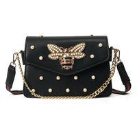 çanta için inci yapay elmas toptan satış-Marka tasarım çanta güzel Rhinestone zincir çanta zarif kadın arı inci dekoratif deri omuz çantası kadın çantası küçük taze inci bahar
