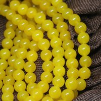 Wholesale Yellow Jade 8mm - Wholesale-Hot sale yellow South America Topaz jasper 8mm charms round jade loose beads diy Fashion Jewelry making 15inch AAA BV179