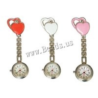 Wholesale Digital Nurses Watch - Wholesale-2015 New Nurses Watches Doctor Brooches Pocket Watch Nurse Table Cute Sweet Heart Quartz with Clip