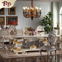 Wholesale Carving Chairs - European antique dining room furniture -hand carved dining room set-Italian style furniture-french furniture- classic dining chair