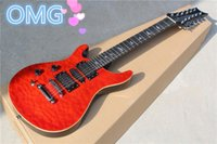 Wholesale Guitar Quilted Maple - Red 12-String Left-hand Electric Guitar with Quilted Maple Veneer,3 Open Humbucker Pickups and Can be Changed