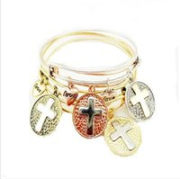 Wholesale Alex Ani Cross - Alex And Ani Birthday Gift Alloy Bangle With 4 Colors Cross Charms Women New Fashion Wire Bangles