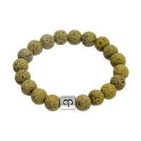 Wholesale Yellow Stone Silver Bracelet - Jewelry Company Zodiac Alloy Charm Bangles Stylish Yellow Volcanic Stone Stone Beads Bracelet Constellation Pattern Wristbands