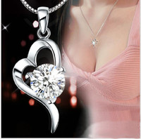 Wholesale Dress For Love - NEW ARRIVAL 30% 925 sterling silver Top Grade Diamond Cubic Zircon Heart Pendant necklace For Wedding Dress Sets Party