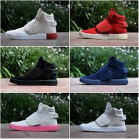 Wholesale Thigh High Cloth Boots - 2016 Fashion Top Quality Famous Originals Tubular Invader Strap Kanye West 750 Boost Mens Sports Running Athletic Sneakers Shoes Size 40-44