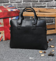 Wholesale briefcase for sale - Group buy Factory sales of brand bags of simple splicing high capacity portable briefcase man crazy horse leather business men briefcase retro compute