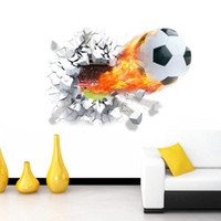 Wholesale game room art - Firing football through wall stickers kids room decoration home decals soccer funs d mural art sport game pvc poster