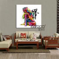buda'nın yağlı boya toptan satış-Modern soyut renkli buda figürleri yağlıboya HD baskılı resim sergisi tuval duvar sanatı resim ev dekorasyon hediye