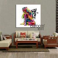 ingrosso dipinti ad olio figure astratte-Moderna astratta colorato buddha figure pittura ad olio HD stampato dipinti su tela wall art picture decorazione della casa regalo