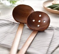 Wholesale Tableware Wooden Spoon - New Wooden tableware Turtle soup spoon Japanese ramen wooden Long handle colander Hot pot spoon practical and durable