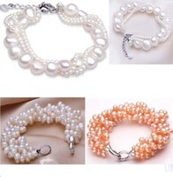 Wholesale Freshwater Lobsters - Fashion Brand High Quality Several Layers Natural Freshwater Big & Small Pearl Bracelets 2 styles for choices 3pcs