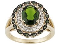 Wholesale Diamond Accent Rings - 1.78ctw Chrome Diopside, Topaz, Green Diamond Accent 18k Gold Over Silver Ring