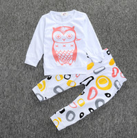 Wholesale Baby Boys Owl Clothes - 2016 Fall baby clothing Long sleeve T-shirts tops pants 2pcs sets outfits owl Toddler clothes milk striped letters cotton fee express