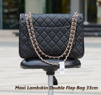 Wholesale Double Shoulder Woman Leather - Factory Wholesale Maxi Lambskin Double Flap Bag w Gold Hardware Women's Genuine Leather Large Shoulder Bag Crossbody Bag Free Shipping