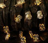 Wholesale Luxury Garden Wholesale - Owl Shape String Lights Wholesale-10LEDs Battery 50leds Solar Golden OWL Shaped String Lights for Luxury Wedding Garden Christmas Decoration