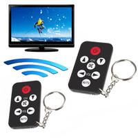 teclas ir mando a distancia al por mayor-Infrarrojo universal portátil IR Mini TV Set Control remoto inalámbrico Control inteligente Llavero Llavero Llavero 7 teclas Botón Negro