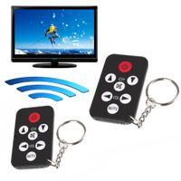 chave de controle remoto de tv universal venda por atacado-Portátil Infravermelho Universal IR Mini TV Set Controlador de Controle Remoto Sem Fio Inteligente Chaveiro Anel Chave 7 Teclas Botão Preto