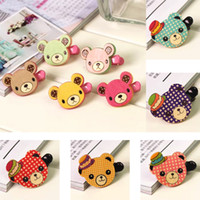Wholesale Korean Wooden Clip - New Hot Selling Korean Kids Mix Color Handmade Cute Wooden Bear Baby Barrette Hair Clips For Children Girls Hairpins Headwear Free Shipping