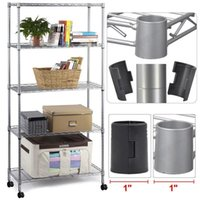 Wholesale Rack Wheels - Commercial 5 Layer Shelf Adjustable Steel Wire Metal Shelving Rack w  Wheels