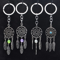 Wholesale Tibetan Key Charms - Dreamcatcher Feather Mixed Color Plastic Beads Keychain Keyring Gift Tibetan Silver Dream Catcher Charm Key Chain