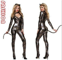 Wholesale New Arrive Sexy Costumes - Fashion Fashion New Sexy Adult Cosplay Jumpsuit Cat Costume Womenƶs Deluxe Sexy Wildcat Costume new arrive!! dorp shipping