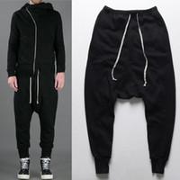 siyah erkekler dans pantolonları toptan satış-Erkek joggers Rahat kentsel giyim pantolon harem pantolon erkekler siyah moda yağma erkekler için dans bırak kasık hip hop eşofman