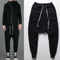 Wholesale Mens Dance Drop Crotch Pants - mens joggers Casual urban clothing trousers harem pants men black fashion swag dance drop crotch hip hop sweatpants for men