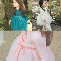Wholesale Dress Girl Pink Long Sleeved - 2017 Girl dresses long sleeved Lace Princess Tutu embroidered dress pink blue and green Fall boutique kids clothing