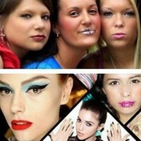 Wholesale lips tattoos sticker glitter - New 3D Art lips sticker Glitter Pink sexy pattern makeup Performing Arts tattoo lip stickers Makeup Tools