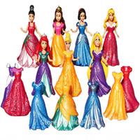 Wholesale Toys Dressed - 8CM Magic Clip Princess Magiclip Snow White Dress Aurora Statue Cinderella Anime PVC Action Figures Dolls Figurines Kids Toys