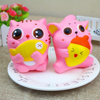 20 UNIDS Jumbo Lindo Squishy Cat Hold Fish Nut Suave Kawai Pussy Kitty Lento Levantamiento Squeeze Pan Cake Sweet Scented Kid Juguetes de Navidad Regalo