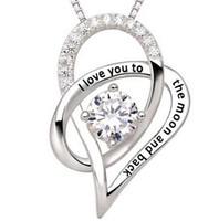 Wholesale Stainless Steel Heart Shaped Necklace - Best Quality! Rhinestone Sweetheart Shape Pendant Necklaces Stainless Steel Link Chains Crystal Jewelry for women men