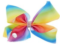 Бесплатная доставка 2017 Newests 10pcs 8 '' Радуга для волос Bows Big Rainbows Hair Bows Girl Hair Clips Fashion Headwear