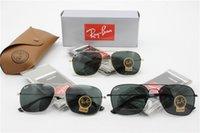 Wholesale Brand Name Box - RAY glass lens men Sunglasses brand name aviation classic feminin women metal Sun Glasses vintage oculos de sol with brown box