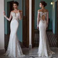 Wholesale Out Shoulders Wedding Dress - Riki Dalal 2016 New Arrival Off Shoulder Sheer Neck Illusion Long Sleeves Mermaid Wedding Dresses Sexy Cut Out Back Lace Bridal Gown EN61711