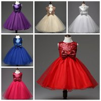 Wholesale Kids Red Vest Top - New Style Girl Dress Cute Sequin Sleeveless Vest Princess Lace Dress Baby Kids Party Wedding Bridesmaid Dress Top Quality