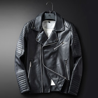 Wholesale Trench Coats Leather Sleeves - New Arrival Mens Faux Black Leather jackets For Men Slim Fit Casual Coat Hombre Biker Jacket Blue Faux Leather Trench Coat Windbreaker