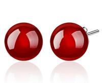 ágatas rojas para la venta al por mayor-Grado superior 925 pendientes de plata del perno prisionero de la venta caliente de la manera de Balll Pendientes cristalinos para las mujeres joyería de la muchacha negro y rojo al por mayor