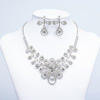 Wholesale Jewelry Settings Earrings - 2016 New Jewelry Necklace Earring Set Cheap Wedding Bridal Prom Cocktail Evening Dresses Rhinestone 15-004 In Stock Free Shipping