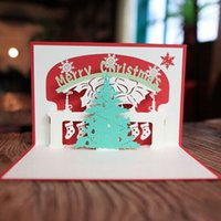Wholesale Wishing Tree Supplies - Artificial christmas tree christmas decorations christmas wishes card 3D gift card party supply wholesale free shipping