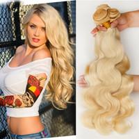 rus yığını insan saçı toptan satış-2016 Yeni Varış 100% 9A Sarışın 613 # Rus Saç Vücut Dalga İnsan Saç Örgüleri 3 Demetleri 300G 10-30 inç 613 Sarışın Saç Uzantıları