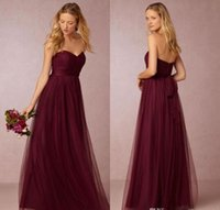 A-Line black cherry flooring - Annabelle Dark Cherry Tulle Long Bridesmaids Dresses Pleated Sweetheart Neckline A Line Ruched Floor Length MB Maid Of Honor Gowns