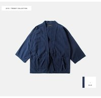 Wholesale Men Judo - Japan Harajuku Kimono Jacket Judo Jacket Half Sleeve Coat Streetwear Fashion Men Clothing 003W16