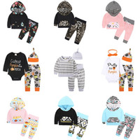 Wholesale Top Baby Cotton Hats - Baby Girls Boys Clothing Sets Toddler Infant Newborn 3PCS Suit Tops Pants Hat Boys Girls Leggings Tights Sweatshirt Pants Kids Clothes 261