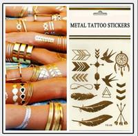 metallic tattoo jewelry venda por atacado-Tatuagem temporária Tatuagem de Ouro Flash Tatuagens Folha Tatoos Metálicos Produtos Sexy jóias Tatuagem de Henna Tatoo Body Art tatuagem adesivos 14 * 25 cm