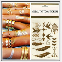 Wholesale temporary foot ankle tattoos - Temporary tattoo Gold tattoo Flash Tattoos Leaf Tatoos Metallic Sexy Products jewelry Henna Tatoo Body Art tattoo stickers 14*25cm